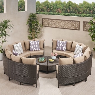 Link to Newton Outdoor Round Wicker Sectional Sofa Set by Christopher Knight Home Similar Items in Outdoor Ottomans