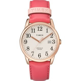 Timex Women's TW2R62500 Easy Reader Pink/Rose Gold-Tone Leather Strap Watch - PInk