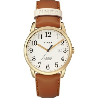 Timex Women's TW2R62700 Easy Reader Brown/Gold-Tone Leather Strap Watch - brown