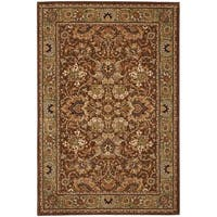 "Dark Brown Blue Traditional Border 5x8 Area Rug 5'3""x7'10"""