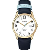 Timex Women's TW2R62600 Easy Reader 38mm Blue/Gold-Tone Leather Strap Watch - BLue