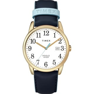 Timex Women's TW2R62600 Easy Reader Blue/Gold-Tone Leather Strap Watch - Blue