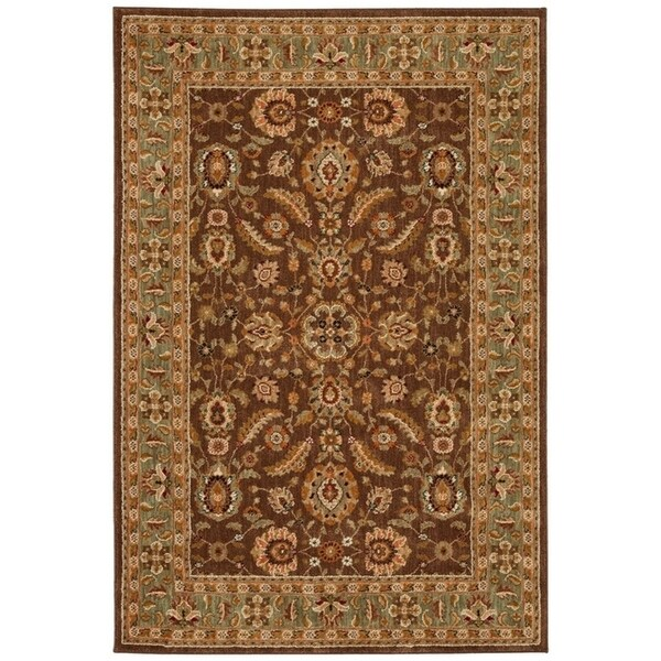 Shop Dark Brown Traditional Border 5x8 Area Rug 5 3 Quot X7 10