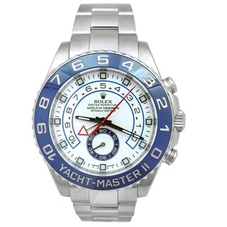 Pre-owned 40mm Rolex Stainless Steel Oyster Perpetual Yachtmaster II Watch with Blue Ceramic Bezel