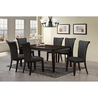 Home Source Adamand Dark Grey Tufted Leather Side Chairs (Set of 2)