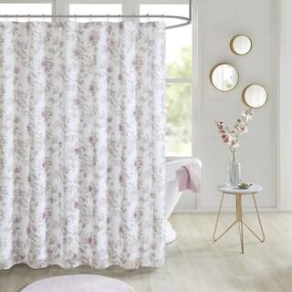 Madison Park Prim Blush Floral Printed and 3D Embellished Shower Curtain