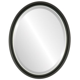 Hamilton Framed Oval Mirror in Matte Black with Gold Lip