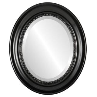 Chicago Framed Oval Mirror in Matte Black