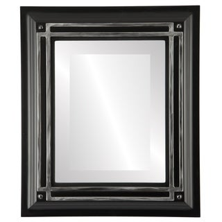 Imperial Framed Rectangle Mirror in Matte Black  with Silver