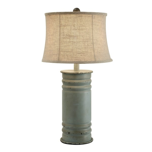 Antique Blue 24-inch Can Table Lamp