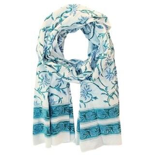 Handmade Blue & Green Floral Block Printed Cotton Scarf- Fair Trade (India)