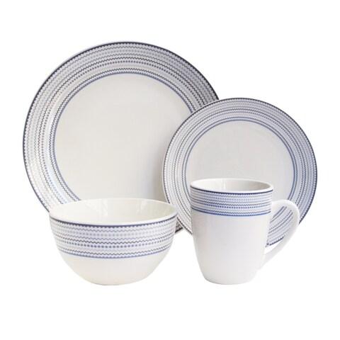 cadence wh/bl 16 pc dinner ware set