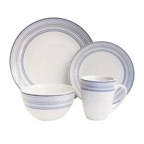 cadence wh/bl 16 pc dinner ware set