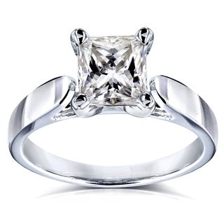 Annello by Kobelli 14k White Gold 7/8 Carat Princess Moissanite Solitaire Peg Head Cathedral Engagement Ring