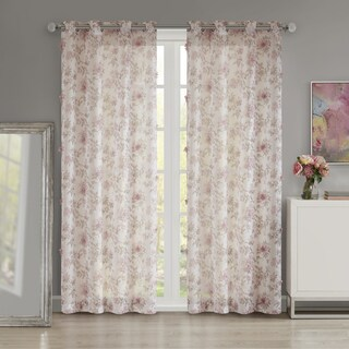 Madison Park Prim Blush Floral Printed and 3D Embellished Sheer Curtain Panel (3 options available)