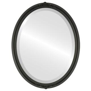 Contessa Framed Oval Mirror in Matte Black