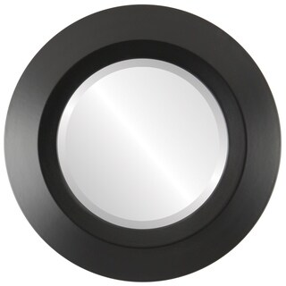 Veneto Framed Round Mirror in Matte Black