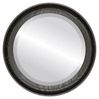 Vancouver Framed Round Mirror in Rubbed Bronze - Black