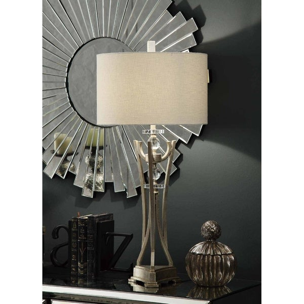 Ellis Silver Leaf 35-inch Table Lamp