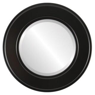 Montreal Framed Round Mirror in Matte Black