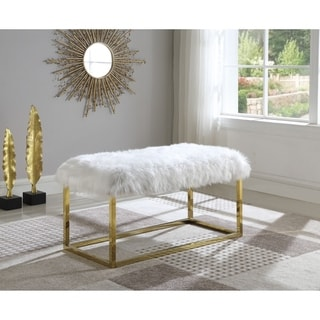 Link to Best Quality Furniture Faux Fur Accent Bench Similar Items in Living Room Furniture