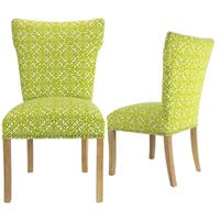 Bella Lace Green/ Brown Wingback Dining Chairs (Set of 2)