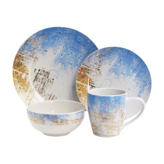soiree sea salt blue 16 pc din. Set  sc 1 st  Overstock & Stoneware Place Settings For Less | Overstock.com