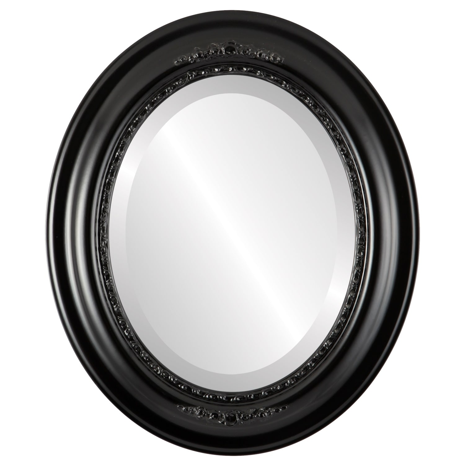 Boston Framed Oval Mirror in Matte Black (29x41 - Large (over 32 high))