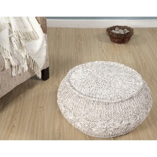 """LR Home Melange Cable Knit Pouf Ottoman (16""""X 20"""")"""