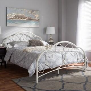 Vintage Industrial White Finished Metal Platform Bed by Baxton Studio