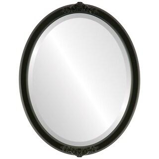 Athena Framed Oval Mirror in Matte Black
