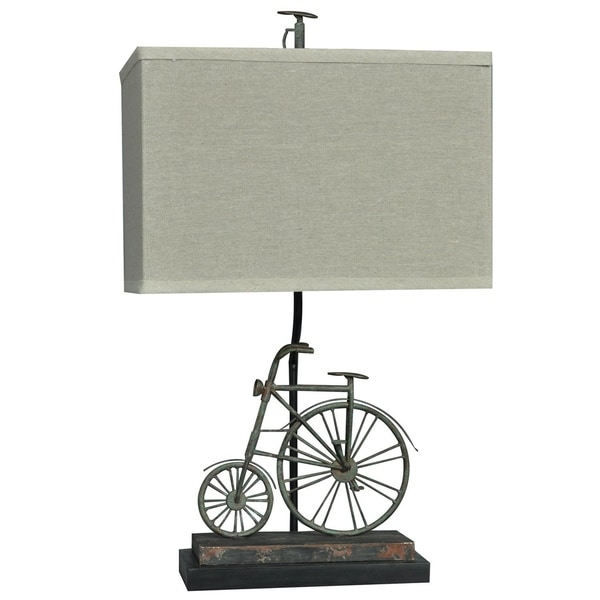 Big Wheel Rusted Blue 24-inch Table Lamp