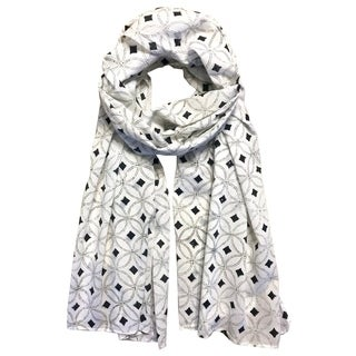 Handmade White & Black Diamond Block Printed Cotton Scarf- Fair Trade (India)