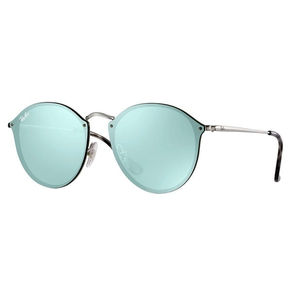 1ec833603 Ray-Ban Blaze Round Sunglasses Silver/ Dark Green & Silver Mirror 59mm