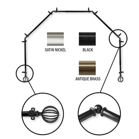 InStyleDesign Loop 5-Sided Bay Window Curtain Rod