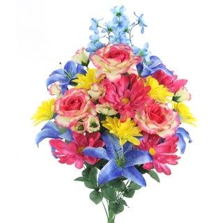 30 Stems Faux Lily Rose Dahlia & Daisy Mixed Flower Bush