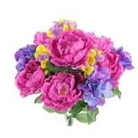 12 Stems Faux Peony & Hydrangea Mixed Flower Bush