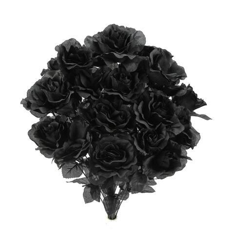 24 Stems Artificial Blooming Rose Flowers Bush Decoration Arrangement