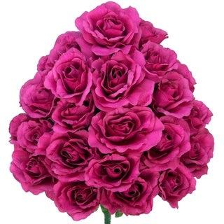 24 Stems Artificial Blooming Rose Flowers Bush Decoration Arrangement - N/A