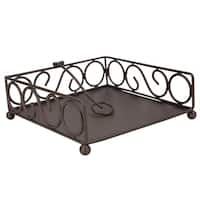 Home Basics Scroll Collection Bronze Steel Flat Napkin Holder