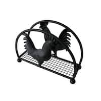 Home Basics Black Rooster Series Steel Napkin Holder