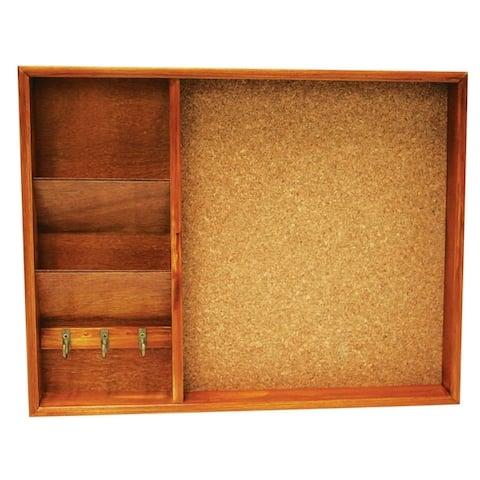 Home Basics Pine Wood Wall Mounted Bulletin Board