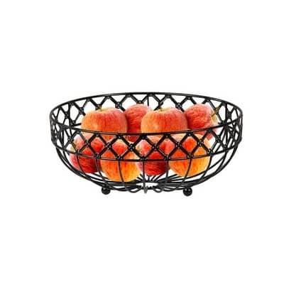 Home Basics Black Lattice Fruit Bowl