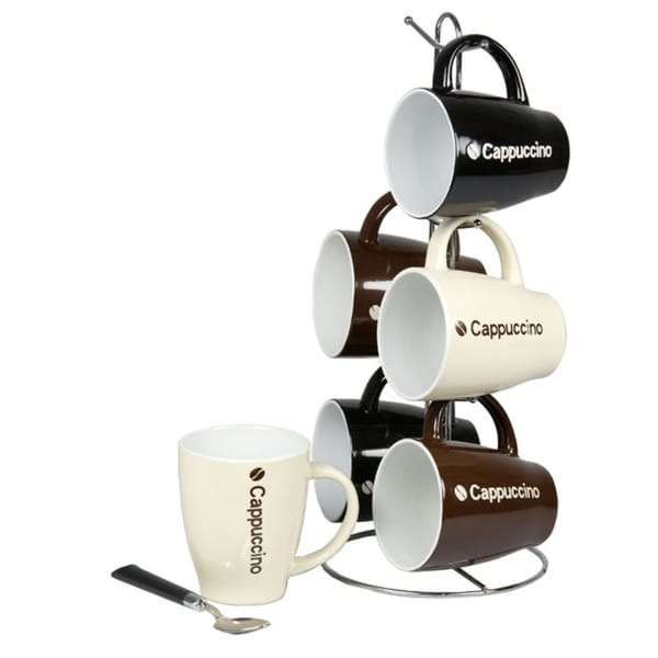 Home Basics 6-piece 15-inch Mug Set with Stand. Opens flyout.
