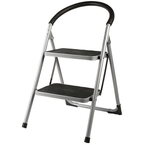 Home Basics Black and Silver Steel 2-step Deluxe Step Stool