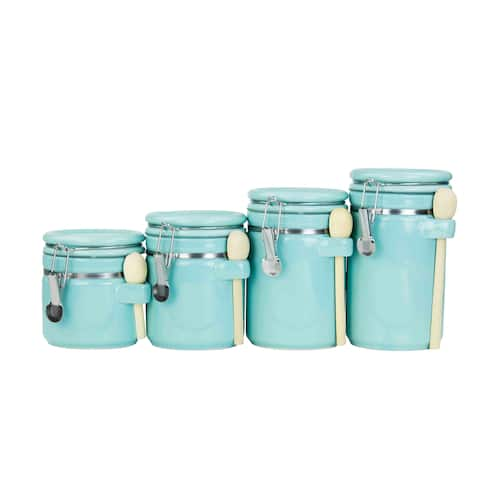 Home Basics Blue 4-piece Ceramic Canister Set with Wooden Spoon