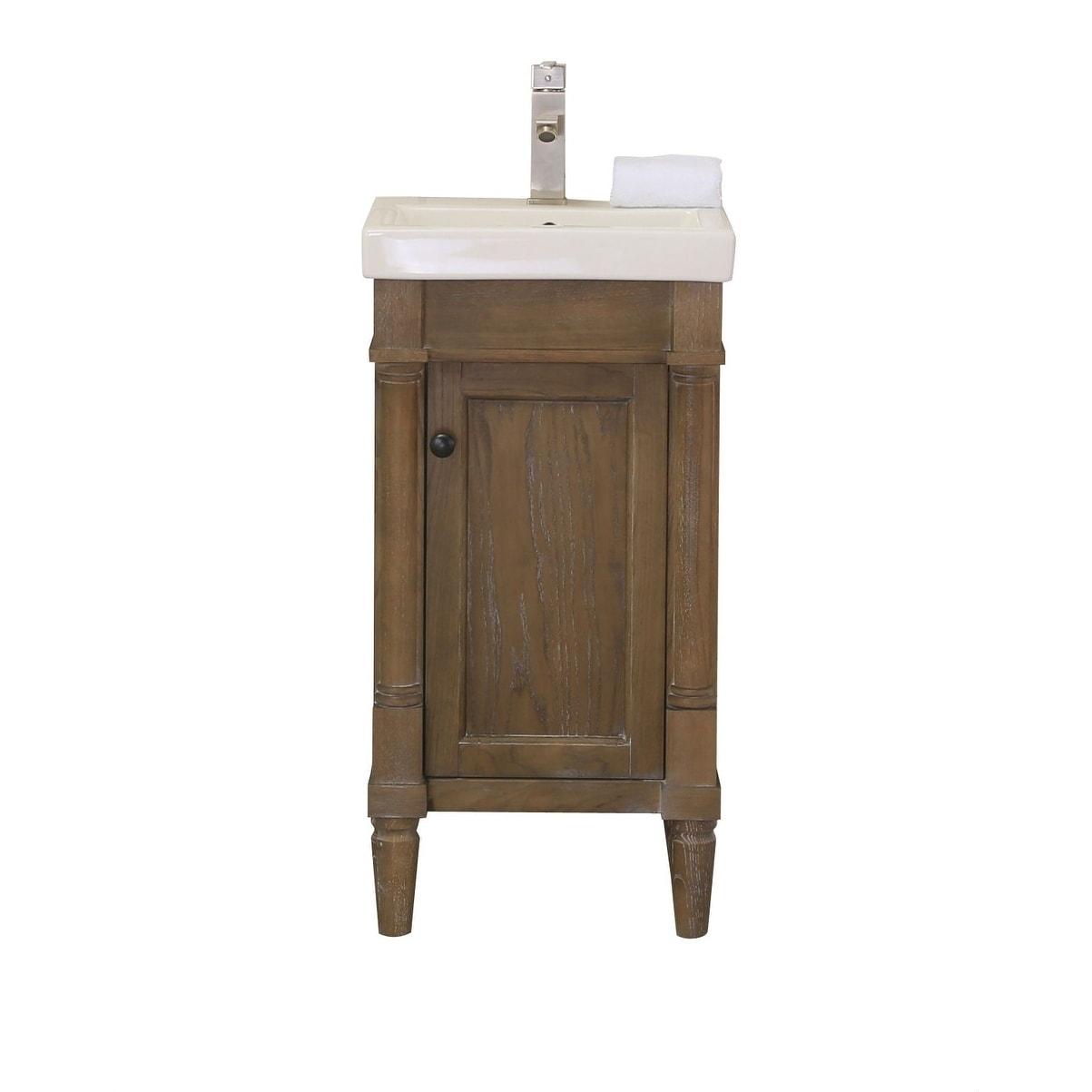 Legion Furniture17 In Bathroom Vanity Weathered Brown With Porcelain Top