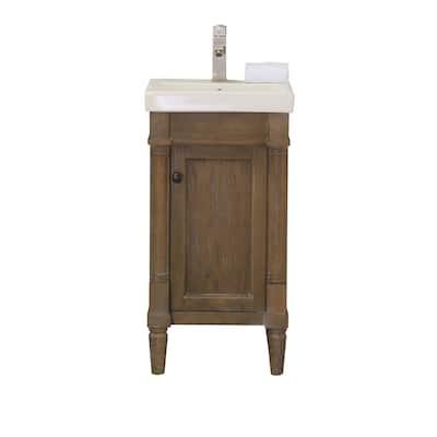 Legion Furniture17 in. Bathroom Vanity in Weathered Brown with Porcelain Top