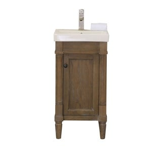 Legion Furniture Weathered Brown 17-inch Bathroom Vanity with Porcelain Top