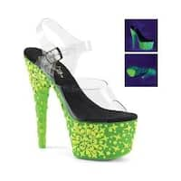Women's Pleaser Adore 708NSK Ankle-Strap Sandal Clear PVC/UV Green